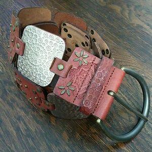 Fossil leather brown & bronze link belt size large